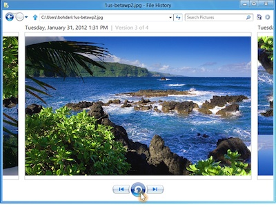 Windows 8 時光機器備份新功能,File History 讓你找回修改前的照片