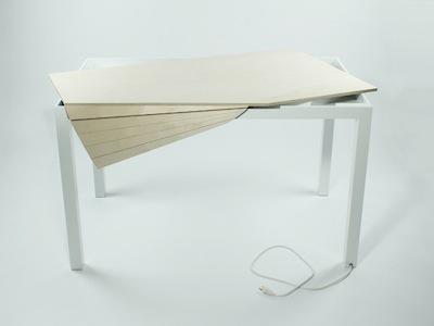 極簡 Tambour Table 電腦桌,5秒清空桌面雜物和電線