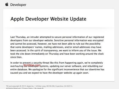 蘋果開發者中心遭駭,部分帳號資料可能外流