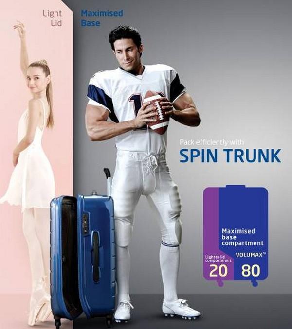 硬箱設計大革命!創新Spin Trunk 硬挺上市 世界第一大行李箱品牌Samsonite再創新突破  取自軟箱設計黃金比例20:80