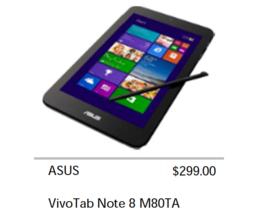 傳華碩將推出 VivoTab Note 8 有繪圖筆的 Win 8.1 八吋平板