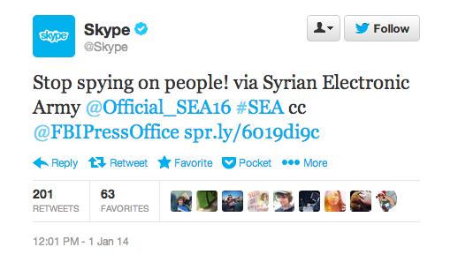 Skype 遭敘利亞駭客攻擊,Twitter 帳號、Facebook 粉絲團、部落格無一倖免