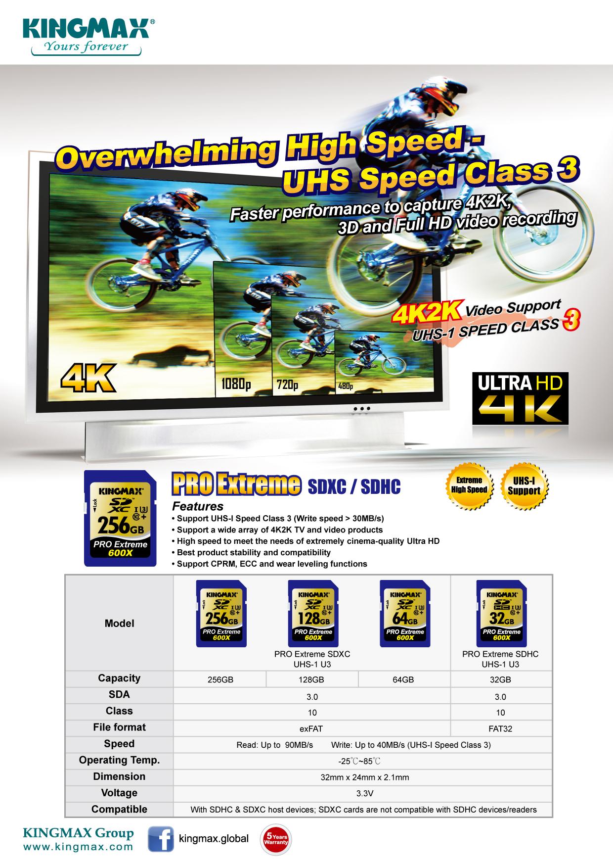 KINGMAX極速支援4K2K ,高畫質寫入SDXC/SDHC PRO Extreme。