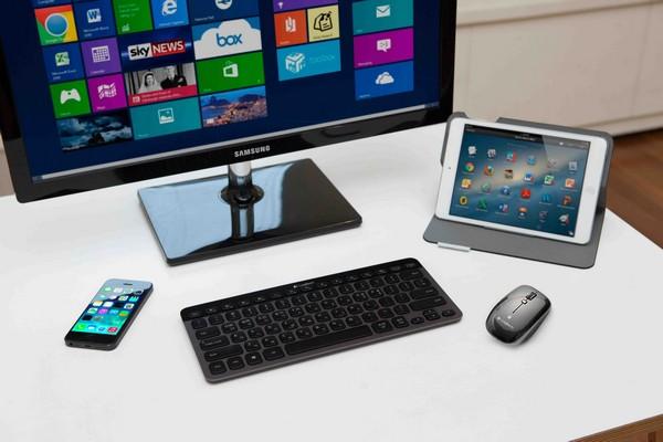 可與各種藍牙裝置連結使用、有效率的操作體驗,羅技藍牙炫光鍵盤 K810、藍牙滑鼠 M557!