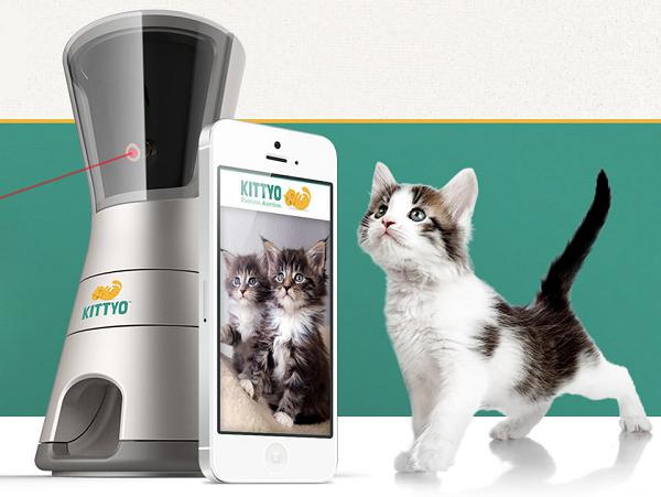 不管你在何處,用手機控制 Kittyo 的雷射光,就可以和家裡的貓咪玩遊戲及餵食