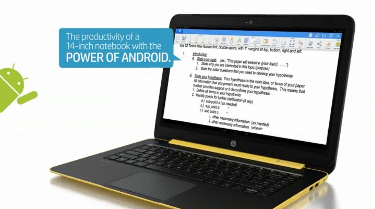 純Android筆電HP SlateBook 14,Google與ARM反攻序曲