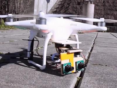 空拍攝影機與虛擬實境頭盔結合,操作者頭部擺動就可以控制攝影角度