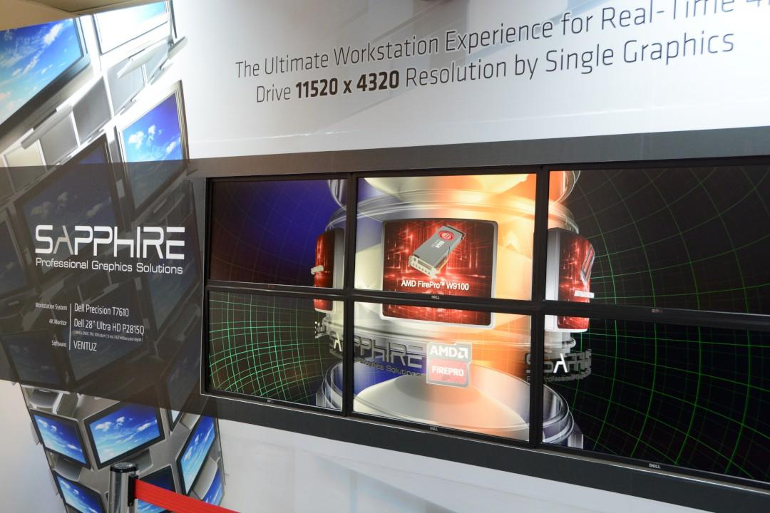 6倍UHD解析度11520 x 4320,Sapphire FirePro W9100單卡跑6個4K螢幕