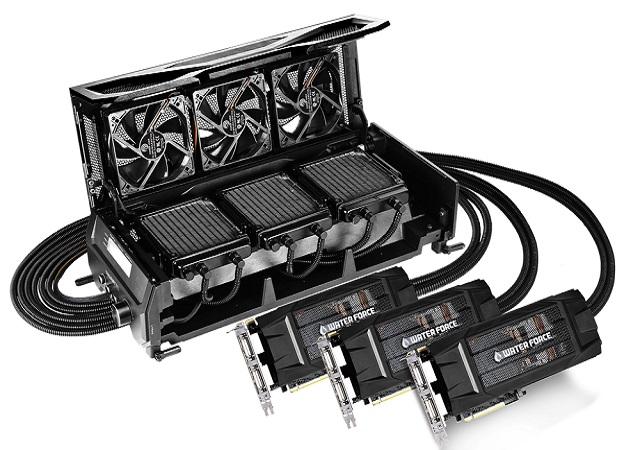 GIGABYTE GV-N980X3WA-4GD 顯示卡,3-Way SLI 水冷散熱器上身