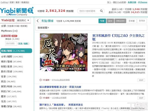 PChome網路家庭推 Yiabi 新聞搜尋引擎 App,力抗 Google、Yahoo 新聞