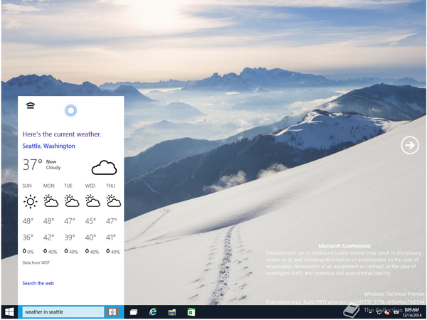 Windows 10客戶預覽版大量截圖洩露,內建Cortana語音助手、Store開始賣音樂/影片