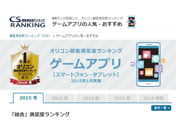 日本Oricon公信榜2015年冬季遊戲類App滿意度排行公布,《LoveLive! 學園偶像祭》拔得頭籌
