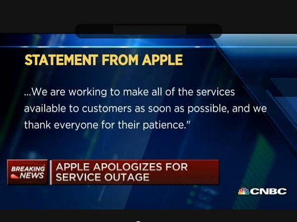 蘋果出面道歉,表示網路服務異常的原因是內部DNS出了問題