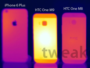 HTC One M9 過燙傳聞不斷,荷蘭網站熱像儀測試溫度高達 55.4 度