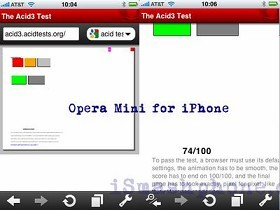 iPhone版Opera Mini挑戰Acid3踢到鐵板