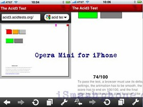 iPhone版Opera Mini挑戰Acid3踢到鐵板