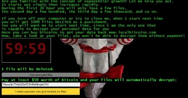 新型「奪魂鋸」勒索病毒JIGSAW:Let's Play,72小時內刪除所有加密檔案!