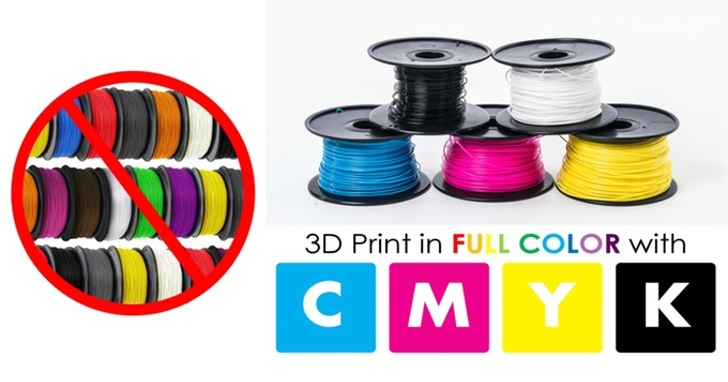 4色原料混出繽紛色彩,3D印表機RoVa4D也玩全彩印刷
