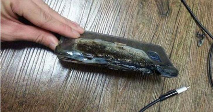 三星 Note 7 傳出全球首「炸」意外,螢幕燒掉一半