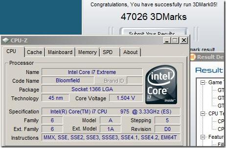 Core i7-975 EE首度亮相,再奪回3DMark05排行榜