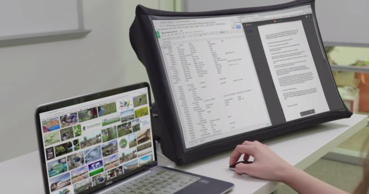 24吋大螢幕也能隨身攜帶,SPUD折疊式螢幕10秒完成變身