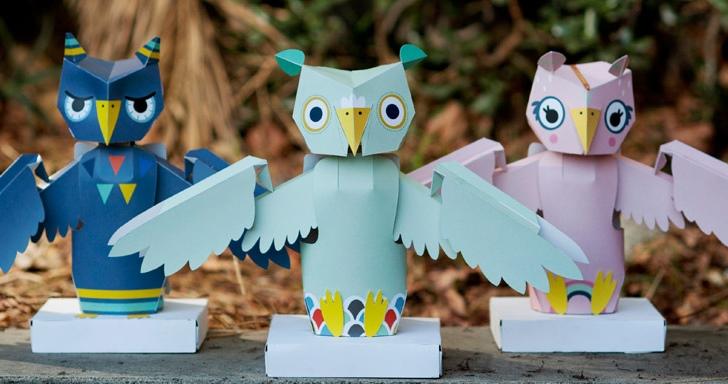 機器人套件也能很漂亮,用紙板製作的Oomiyu貓頭鷹