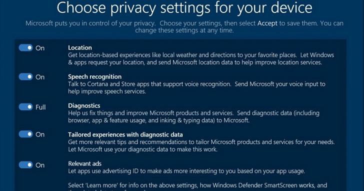 Windows 10 將提供一站式隱私控制功能,讓曾砲轟他們強迫升級的EFF電子前哨基金會也讚揚