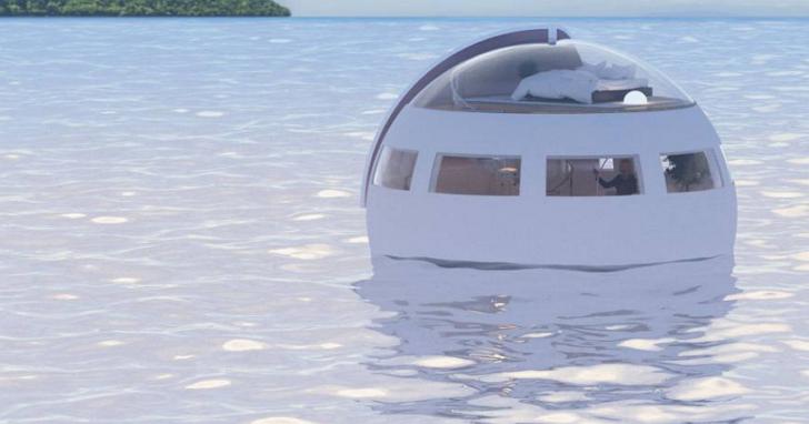 日本豪斯登堡樂園推出漂浮在水上的「膠囊旅館」,遊客一夜睡醒直接漂到無人島