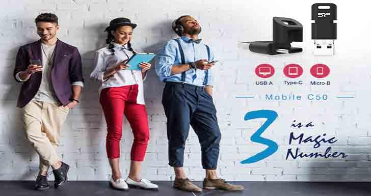 搭載3介面  傳輸無極限 SP廣穎電通推出全新三用OTG隨身碟-Mobile C50