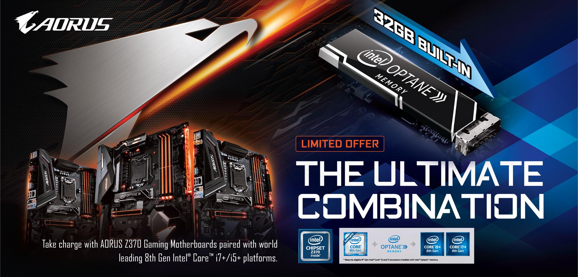 AORUS 最新 Z370 主機板獨家內建 32GB Intel Optane 記憶體