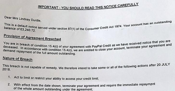 PayPal向已故女子發出帳號違規告知,引發公關危機