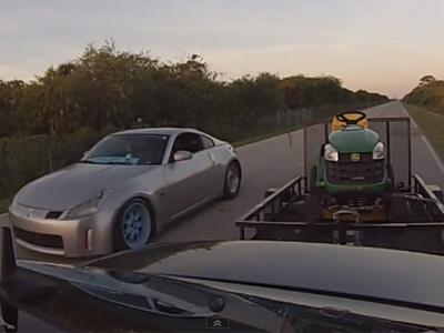 M-Benz E55 AMG拖著割草車還能把 Nissan 350Z巴掉!還是換車吧!