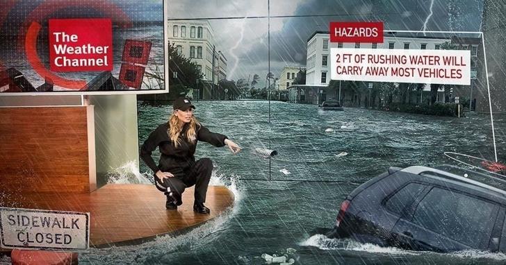 利用AR技術為天氣預報加點特效,做著做著就成了電影災難片了