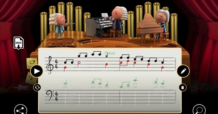 巴哈誕辰334週年,Google上線了首款AI的巴哈紀念Doodle!輸入幾個音符,你也能成為巴哈