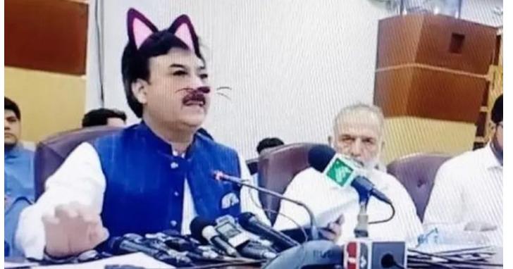 巴基斯坦政府官員直播會議,誤開貓耳濾鏡讓全世界都萌起來