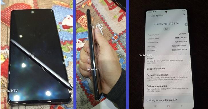 三星Note10 Lite真機照曝光,背面矩形3鏡頭、正面開孔全螢幕、搭配S Pen