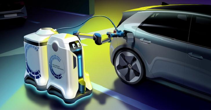把車停好就有機器人幫你充電,Volkswagen 新概念免設充電樁
