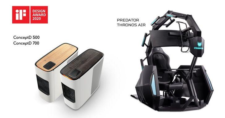 宏碁電競產品、ConceptD工作站獲五項2020年iF設計獎