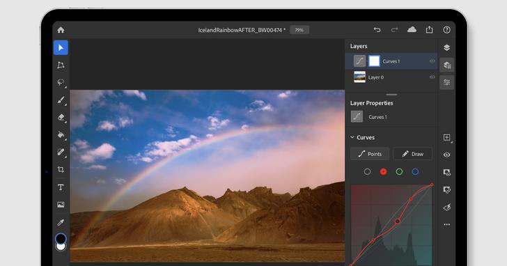 Adobe Photoshop on iPad 功能增強,終於有了曲線及筆刷敏感度調整功能