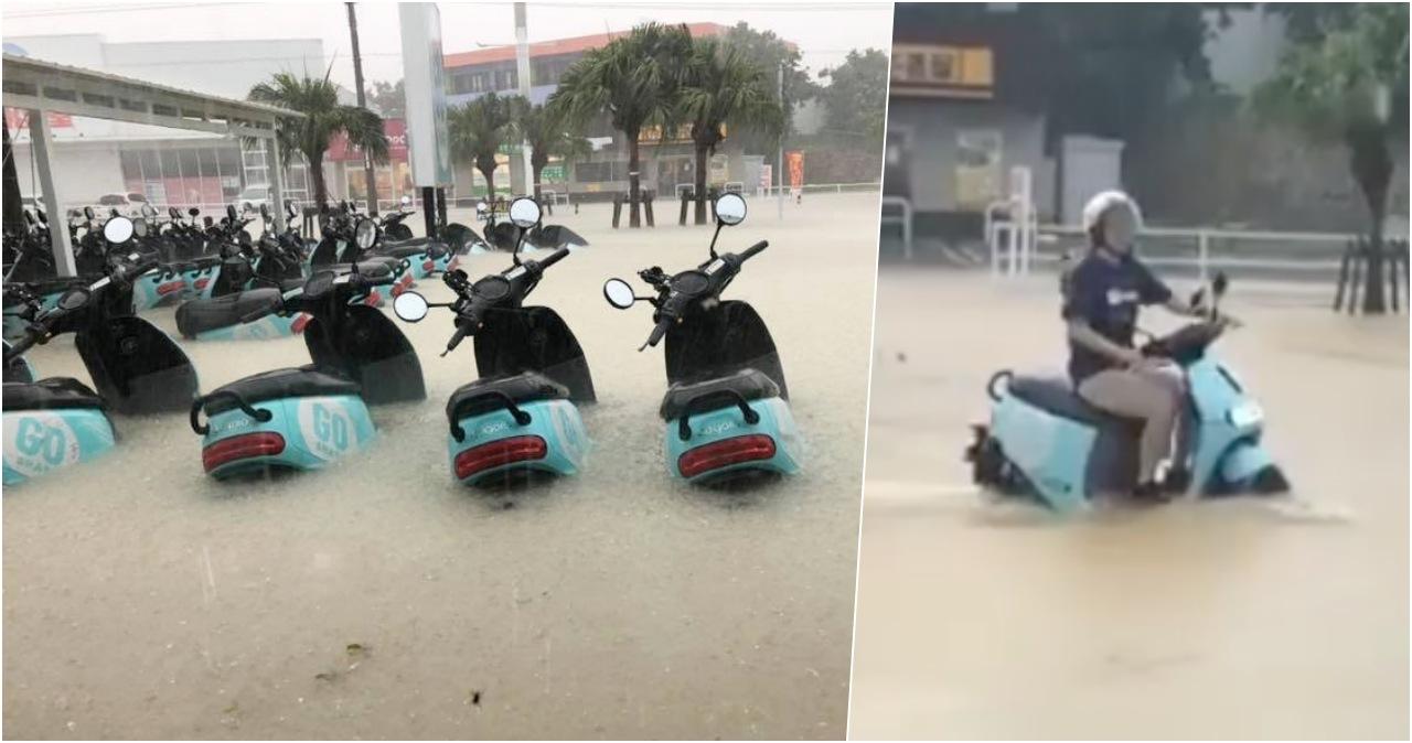 Gogoro 石垣島暴雨照樣騎去逛大街,日本網友認證 GoShare 原來是「水陸兩用」!