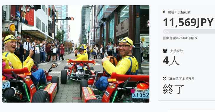 日本真人瑪利歐賽車遭最強法務後上網募資告窮,兩個月累積贊助人數超尷尬