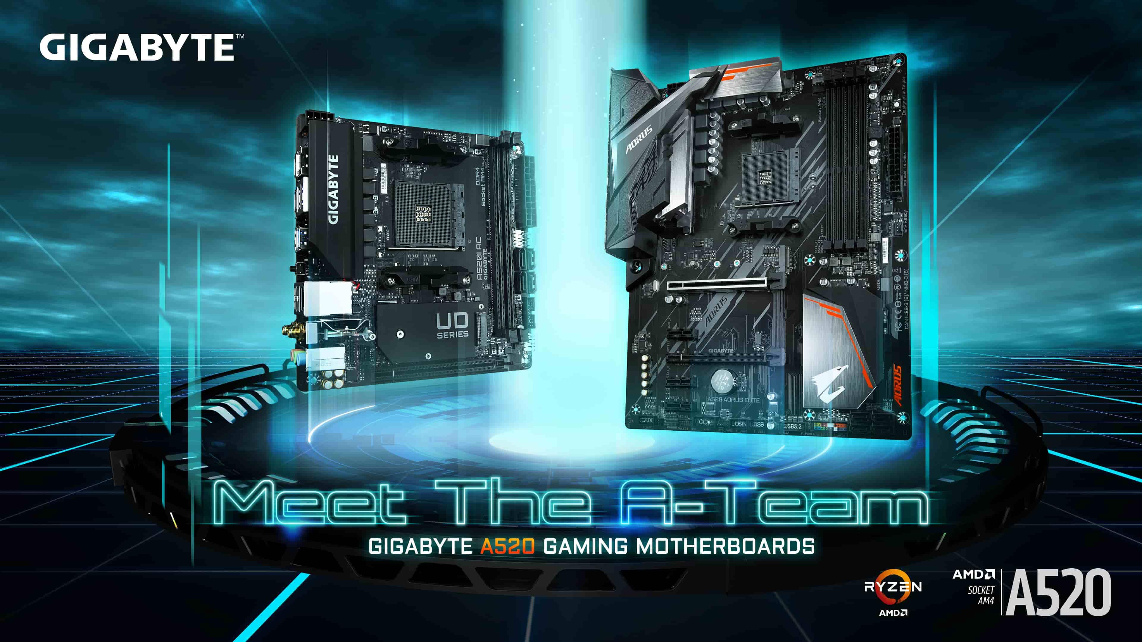 技嘉搶先推出多款搭載A520晶片組的AMD主機板