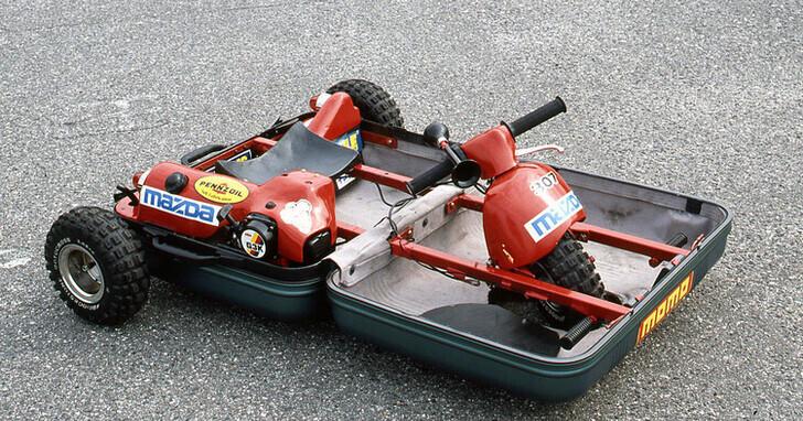 Mazda 曾經搞過的黑科技,把硬殼行李箱變成一台三輪卡丁車!