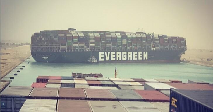 長榮海運貨輪「卡住」蘇伊士運河真糗,雙向塞爆