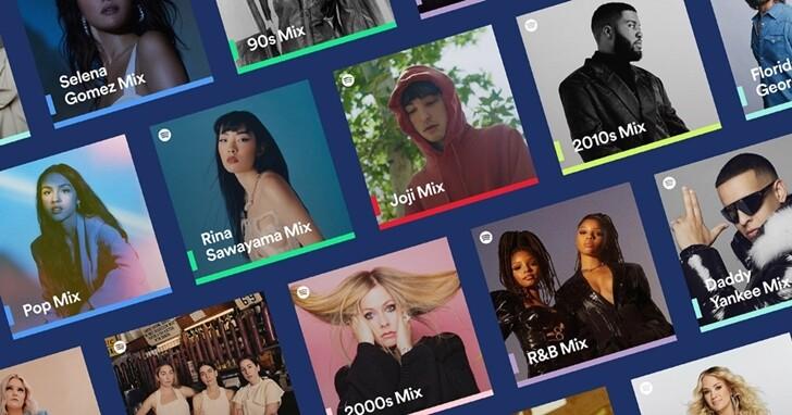 Spotify 推出全新 Spotify Mixes,自動依常聽藝人、曲風與時代建立個人化歌單