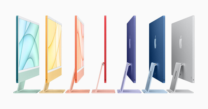 Apple iMac 超輕薄僅11.5mm!24 吋 4.5K 螢幕搭載 M1 SoC,七色可選售價39,900 元起