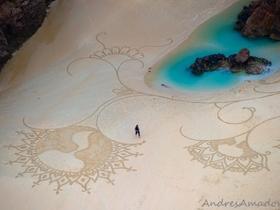 雪畫與沙畫的巨型幾何藝術,更勝麥田圈的細緻作品
