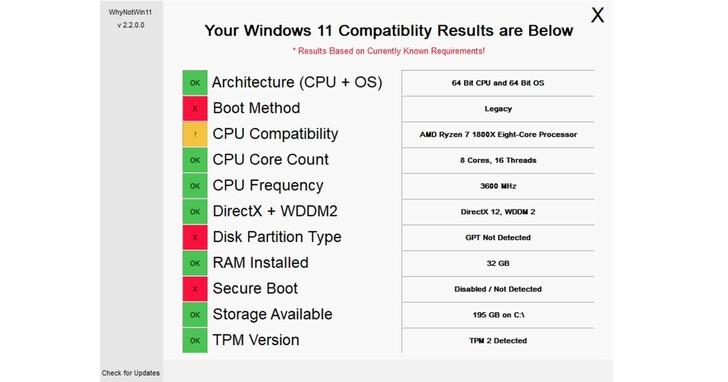 Windows 11官方升級檢查工具看不懂問題在哪?網友自己開發「WhyNotWin11」