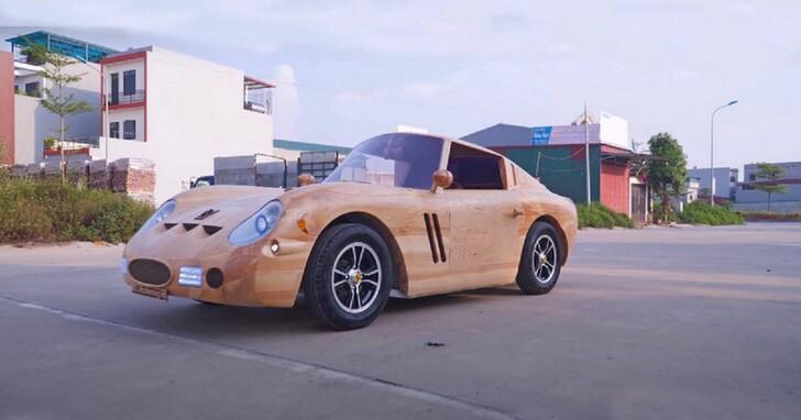 頂級超跑用雙手刻出來,木雕師打造出可以開的 Ferrari 250 GTO