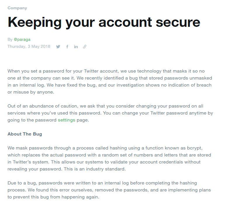 推特在官方部落格上說明整起事件始末,並希望用戶儘速變更密碼。